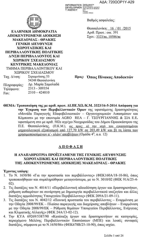 Έγκριση μονάδας παράγωγης λιπασμάτων με ζεόλιθο | Zeolife.gr