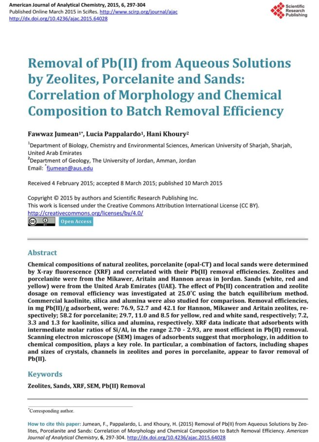 Removal of Pb(II) from Aqueous Solutions by Zeolites, Porcelanite and Sands: Correlation of Morphology and Chemical Composition to Batch Removal Efficiency