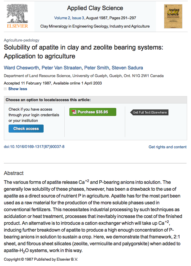 Solubility of apatite in clay and zeolite bearing systems: Application to agriculture