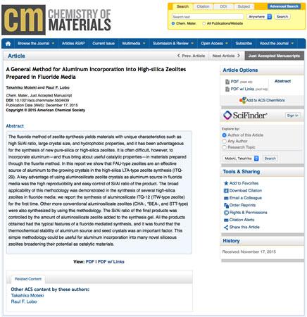Μια γενική μέθοδος για την ενσωμάτωση Αλουμινίου σε Ζεόλιθους υψηλής περιεκτικότητας σε πυρίτιο με χρήση Φθοριούχου μέσου (General Method for Aluminum Incorporation into High-silica Zeolites Prepared in Fluoride Media)