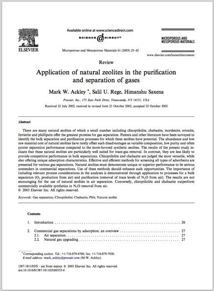 Εφαρμογή των φυσικών ζεολίθων στον καθαρισμό και διαχωρισμό των αερίων