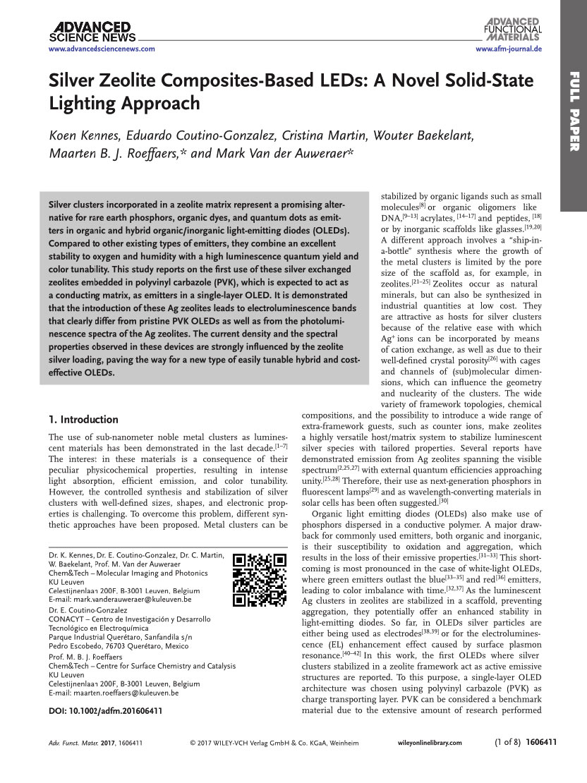 Silver Zeolite Composites-Based LEDs: A Novel Solid-State Lighting Approach [Thesis]