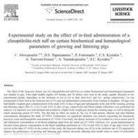 Πειραματική μελέτη σχετικά με την επίδραση της χορήγησης μιας πλούσιας σε κλινοπτιλόλιθο τροφής σε ορισμένες βιοχημικές και αιματολογικές παραμέτρους των χοίρων ανάπτυξης και πάχυνσης - Experimental study on the effect of in-feed administration of a clinoptilolite-rich tuff on certain biochemical and hematological parameters of growing and fattening pigs