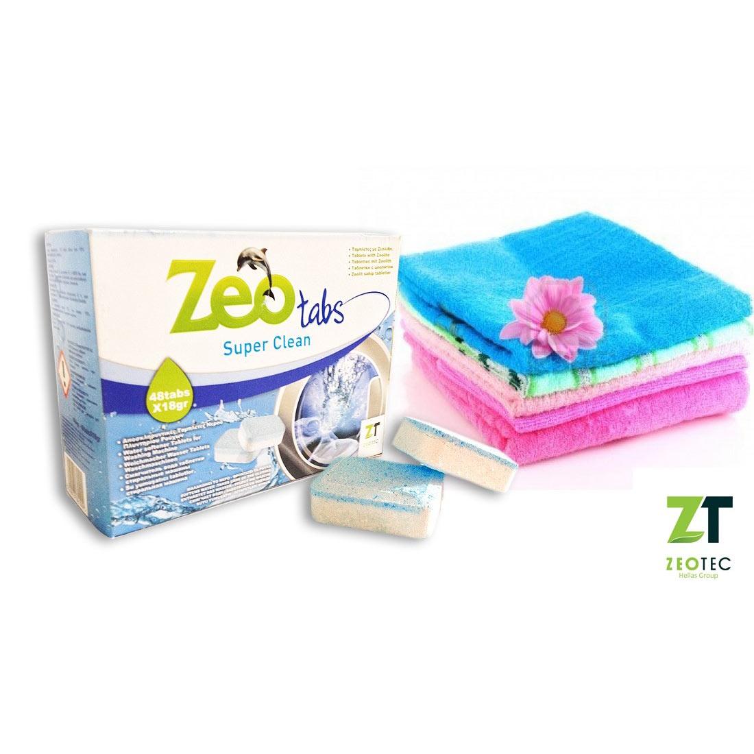 ZeoTabs Super Clean – Αποσκληρυντικό νερού για πλυντήρια ρούχων – 15 Ταμπλέτες